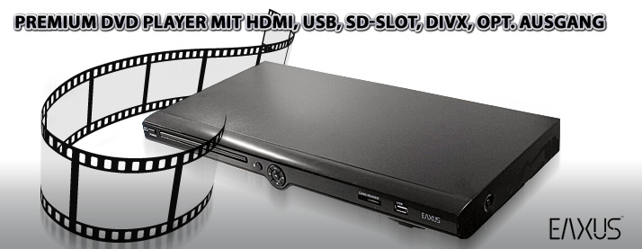 eaxus dvd player mit hdmi sd slot opt ausgang. Black Bedroom Furniture Sets. Home Design Ideas