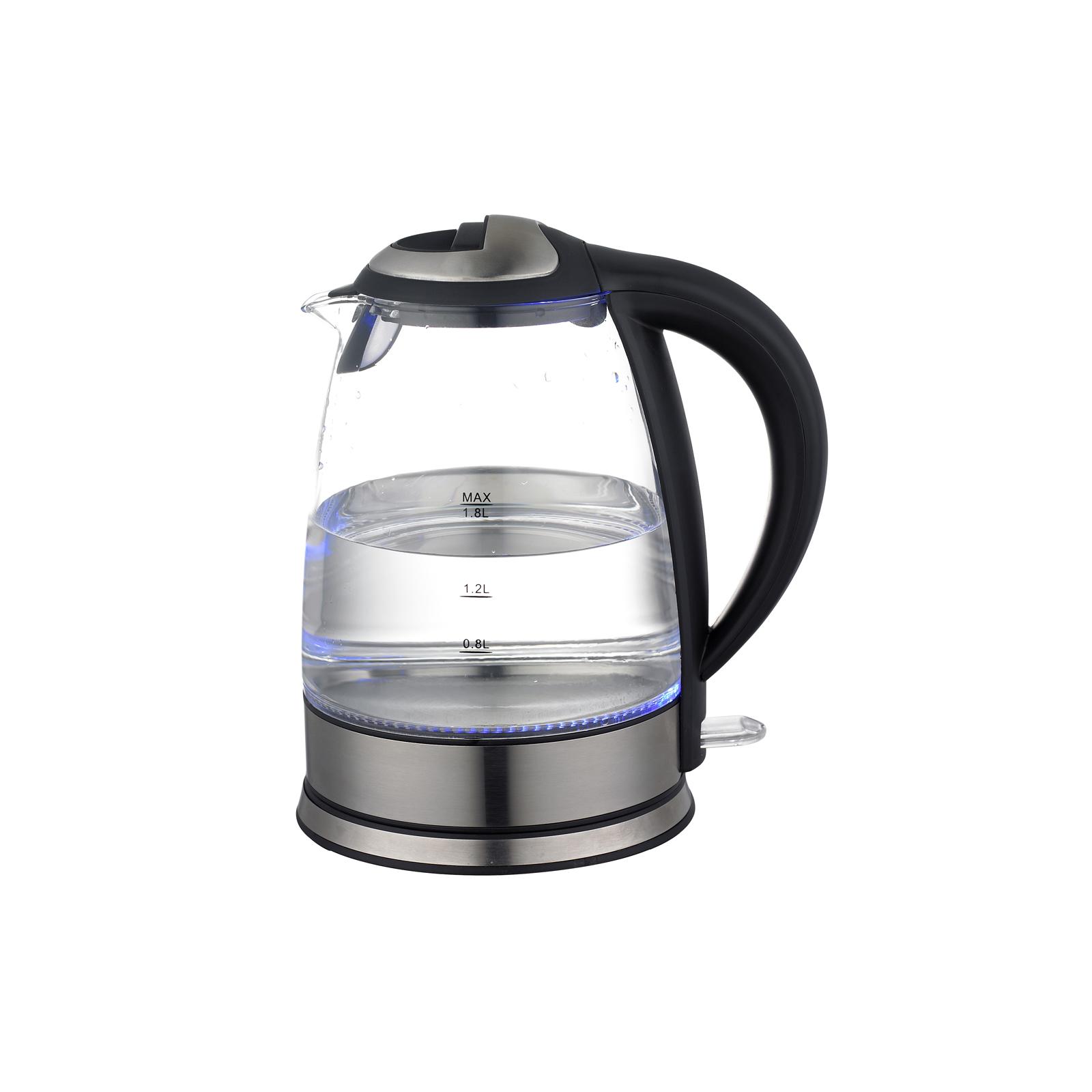 Kabelloser Glas Wasserkocher mit blauer LEDBeleuchtung