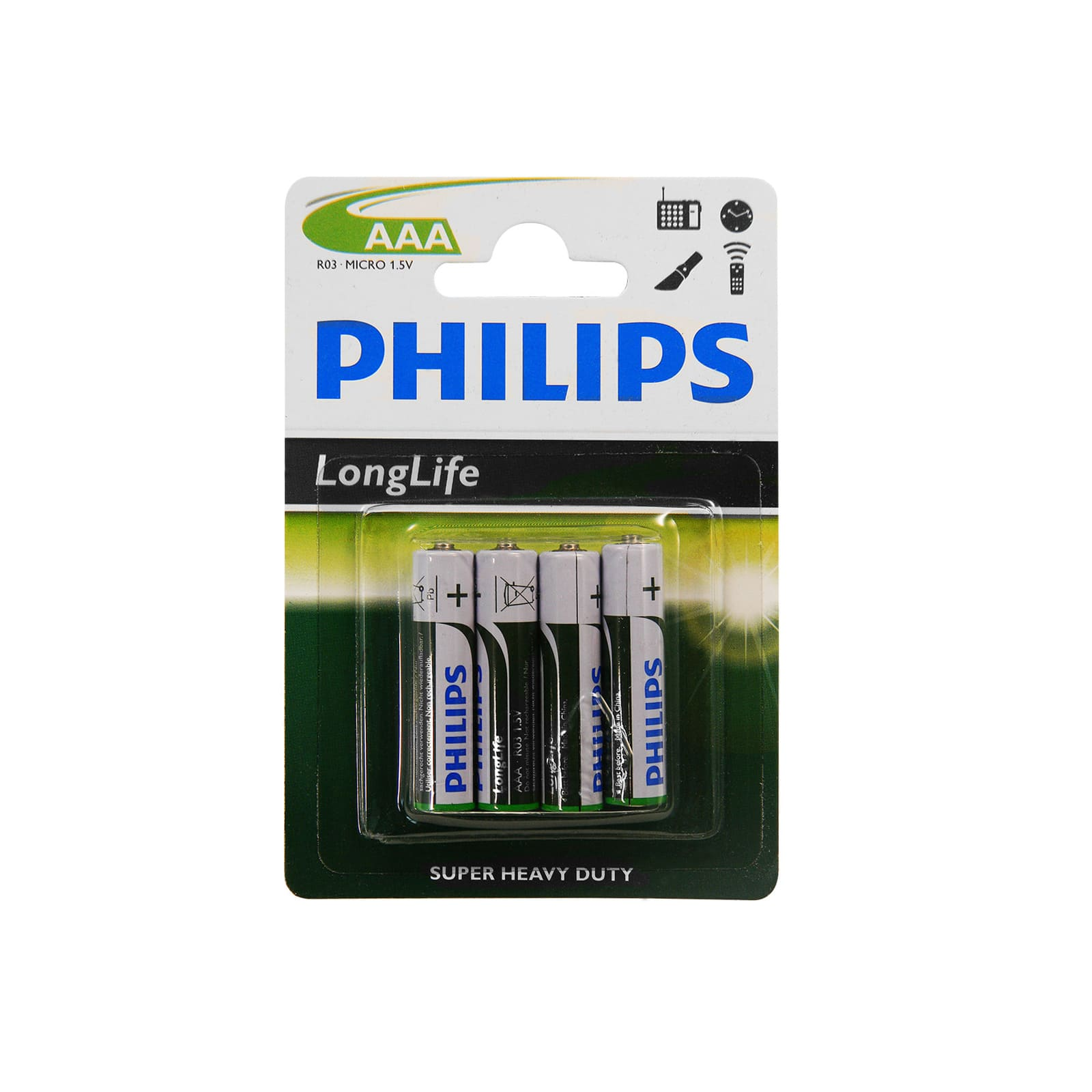 philips long life batterien 1 5 v r03 um4 aaa zink kohle f r verschiedene ger te. Black Bedroom Furniture Sets. Home Design Ideas