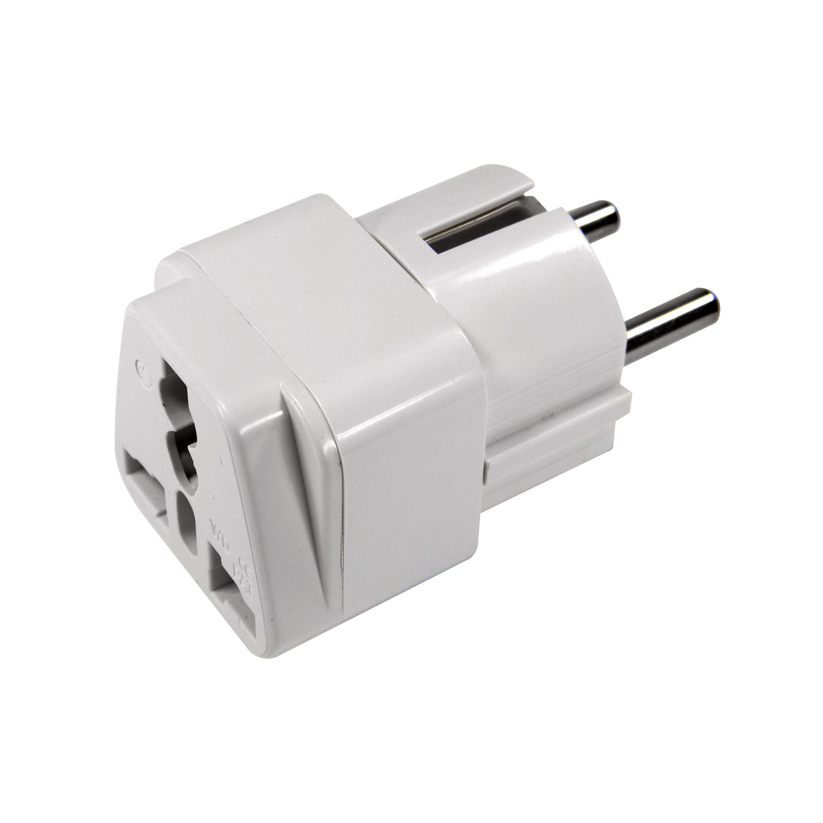 EAXUS universal travel plug adapter white EU stand