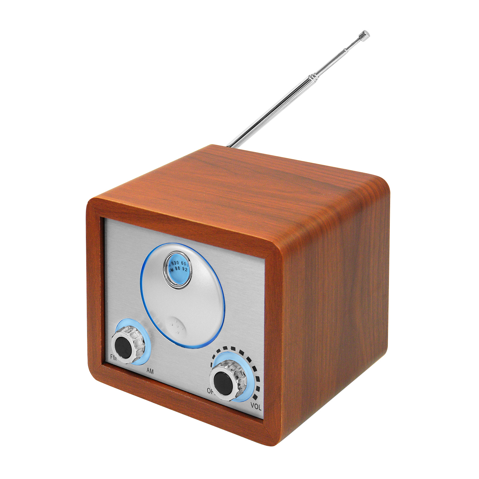 Retro Cube Würfel<br> Radio AM/FM<br>mobil/tragbar, Holzo