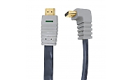 90° HighSpeed HDMI Flachbandkabel 3m 24K Gold, Ethernet, Winkelstecker Bandridge