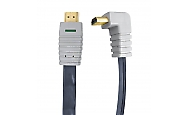 270° HighSpeed HDMI Flachbandkabel 3m 24K Gold, Ethernet Winkelstecker Bandridge