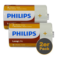 Philips Mono D Batterien 2er Pack Longlife R20 aus Zinkchlorid 1,5 V