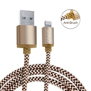 1m 8pin USB Daten-Ladekabel Gold iPhone 5-XR iPad, iPod Anti-Bruch Eaxus