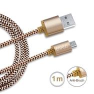 1m Lade- Sync-Kabel Gold für Samsung Micro USB Smartphones Anti-Bruch Eaxus