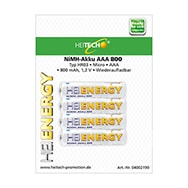 4x wiederaufladebare 800mAh AAA Micro NiMH Akkus / Batterien Heitech