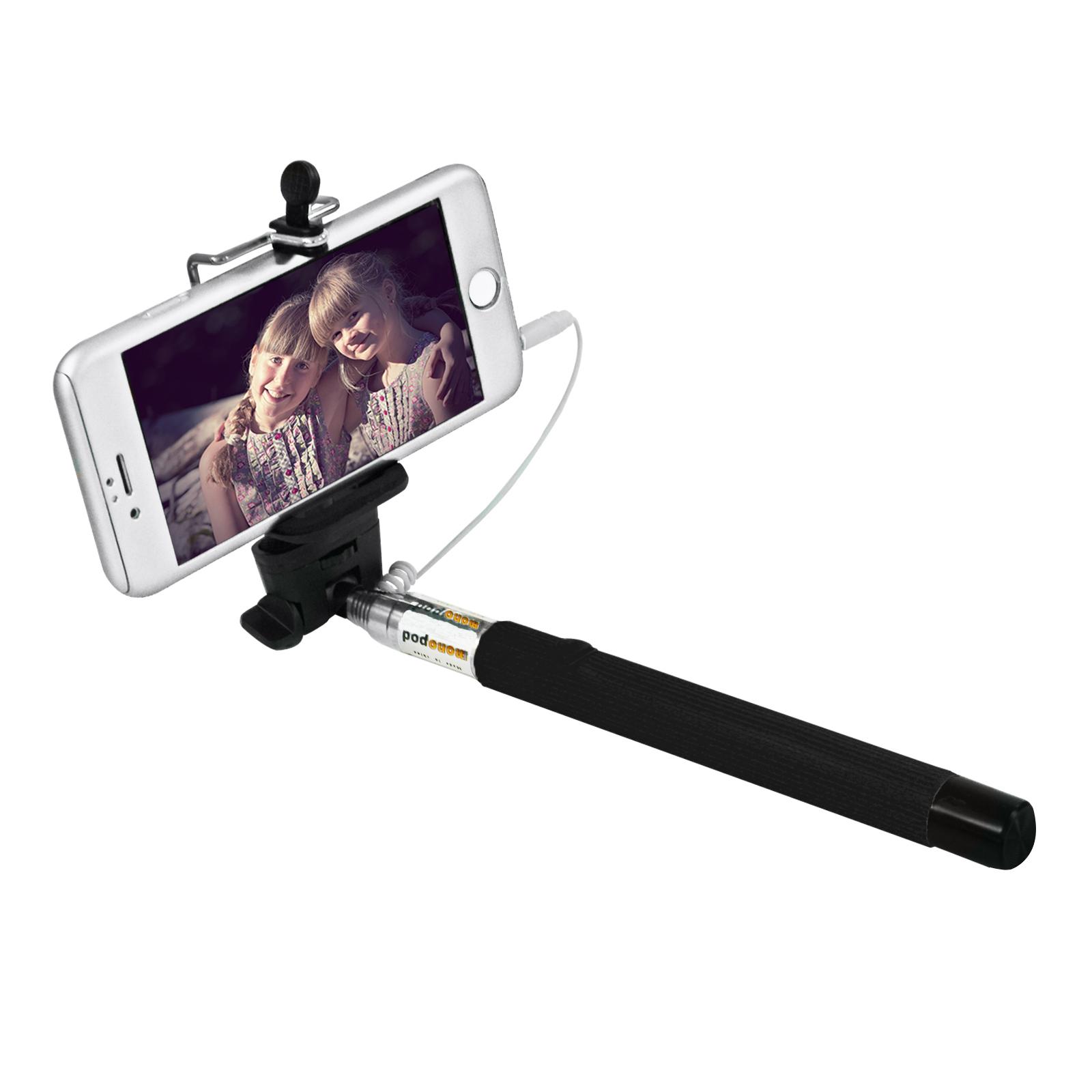 selfie stick mit kabel 3 5 mm klinkenstecker monopod schwarz trade4less. Black Bedroom Furniture Sets. Home Design Ideas