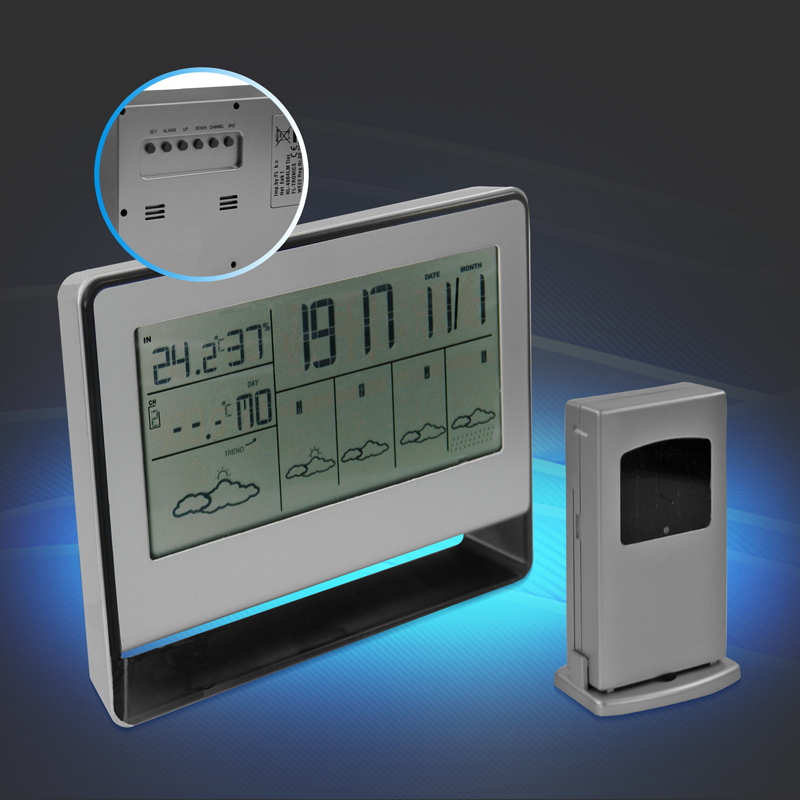 wetterstation funk thermometer temperatur wetter digital au ensensor uhr wecker ebay. Black Bedroom Furniture Sets. Home Design Ideas