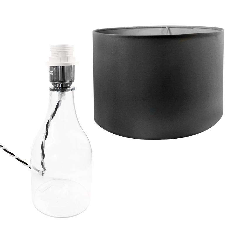 tischlampe hanna mit glasfu schwarzer schirm e27 40w ip20 230v kenwell. Black Bedroom Furniture Sets. Home Design Ideas
