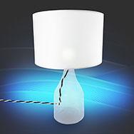 Tischlampe Hanna mit transparentem Fuß, weißer Schirm, 40W, IP20, E27 Kenwell