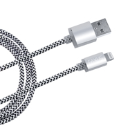 USB 8pin Daten-Ladekabel silbern, 3m iPhone 5-XR iPad Anti-Bruch Eaxus