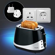 Grundig Premium Toaster m. UK auf EU Adapter, TA 5040, 1000 W