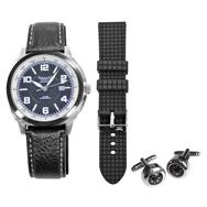 Herren Geschenkset Armbanduhr mit 2 Bändern, Kompass Manschettenknöpfe Aviator