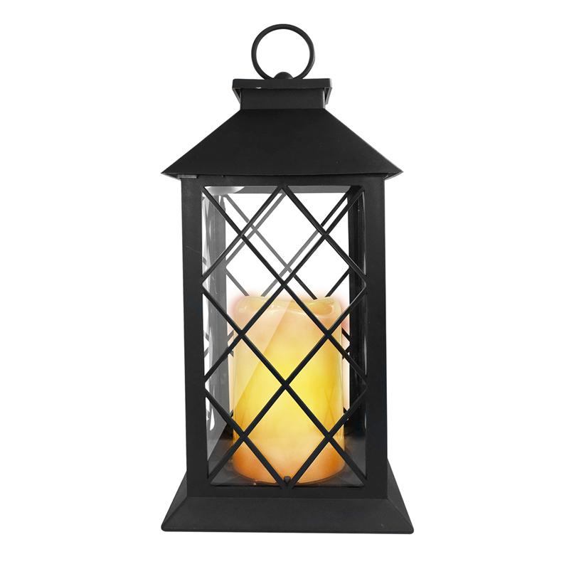 Romantische Laterne mit LED Kerze, warmes Licht, drehbarer ...