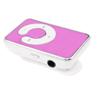 Mini MP3-Player rosa mit Ansteck-Clip, Kopfhörern und USB Lade-, Datenkabel
