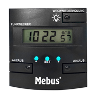 Gebrauchter Wecker, DCF77 Funkuhr mit Hintergrundbeleuchtung, Mebus