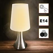 Touch Lampe E14 dimmbar mit Edelstahlfuß in modernem Design Eaxus