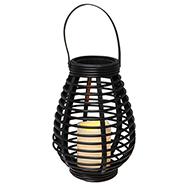 Rattan Laterne mit flackernder LED Kerze, Tisch-/Gartendeko in Braun, Eaxus