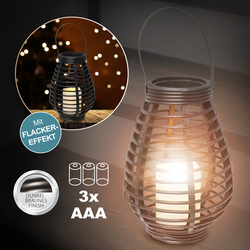 rattan led laterne garten windlicht lampe deko leuchte kerze warmweisse leuchte ebay. Black Bedroom Furniture Sets. Home Design Ideas