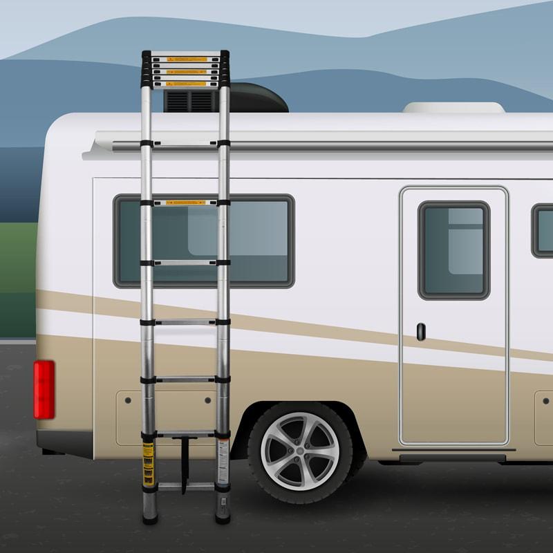 alu teleskopleiter ausziehbar 3 8m h he anlege klappleiter 150kg belastbarkeit ebay. Black Bedroom Furniture Sets. Home Design Ideas