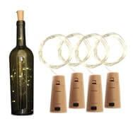 4er Set Flaschenlichter, Korken mit warmweißen LED Tropfen an Kette Eaxus