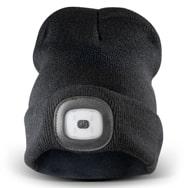 LED Strickmütze Beanie 3 Lichtmodi schwarz mit Li-Polymer Akku, Eaxus