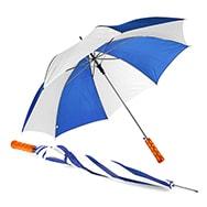 Blauer Regenschirm mit weißen Streifen, Öffnung per Knopfdruck, Umbrellaworld