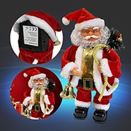 Weihnachtsmann Figur in Rot-Weiß, singend u. tanzend, batteriebetrieben