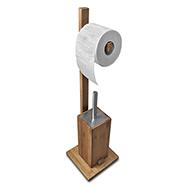 WC-Bürstengarnitur aus Bambus u. Edelstahl mit Toilettenpapierhalter, Sanwood