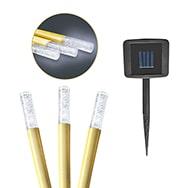 3er Set LED Bambus Garten Solarlampe mit 600 mAh Akku und Erdspieß