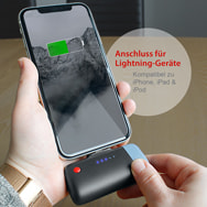 Power Bank Clip System U400 für iPhones, 2.600 mAh Lithium-Ion, Emtec