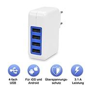 Reise-Netzteil mit 4x USB-Anschlüssen, 240 Volt EU-Stecker in Weiß-Blau