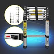 Teleskopleiter aus Alu, ausziehbar bis 2,6m, max. 150kg Belastbarkeit