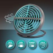 USB Tischventilator UFO Design mit 2 W Kühlfunktion, 90° klappbar Eaxus