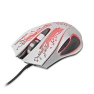 USB Gaming Maus in Weiß mit Technik-Muster, 2400 DPI und 6 Funktionstasten