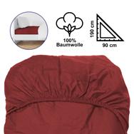 Baumwoll Spannbettlaken rot, 90 x 190/200 cm für 1 Pers. mit Gummizügen