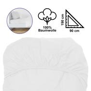 Baumwoll Spannbettlaken in Weiß, 90 x 190 cm für 1 Pers. mit Gummizügen