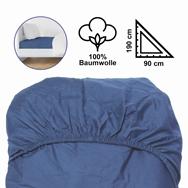 Baumwoll Spannbettlaken blau, 90 x 190/200 cm für 1 Pers. mit Gummizügen