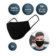 Mehrweg Stoffmaske 3er Set, Nasen- und Mundmaske waschbar, schwarz