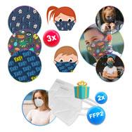 Kinder Mund- und Nasenmasken 3er Pack + 2x FFP2/KN95 Atemschutzmasken geschenkt