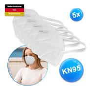 FFP2 Mund-Nasenmasken 5er Pack mit Zertifikat, Atemschutzbedeckung KN95