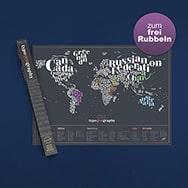 Reisekarte zum Freirubbeln, Typografie Edition, individuell gestaltbar