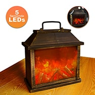 LED Mini-Kamin mit flackerndem Feuer Licht, batteriebetriebene Lampe Eaxus