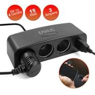 3-fach KFZ Ladegerät mit USB für Zigarettenanzünder, 5 V, 15 W, Eaxus