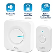 Wireless Doorbell, 2-teiliges Türklingel Set, Steckdosenbetrieb, Eaxus