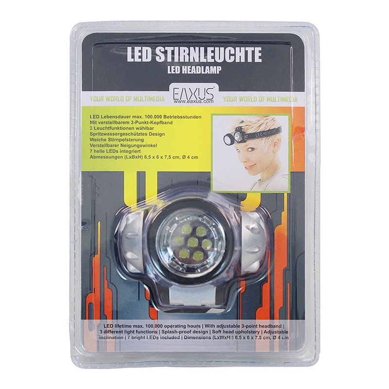 7 LED Stirnlampe /& Signalweste Neon Gelb Leuchte Warnweste Jogging Fahrrad Sport