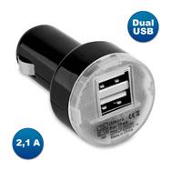 DUAL USB KFZ Ladegerät, 2,1 A Ladeleistung, für 12 V Zigarettenanzünder, schwarz