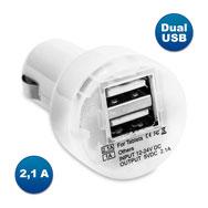 DUAL USB KFZ Ladegerät, 2,1 A Ladeleistung, für 12 V Zigarettenanzünder, weiß