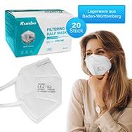 FFP2 Masken 20er Set , EN 149:2001+A1:2009 gegen Viren und Bakterien, Runbo